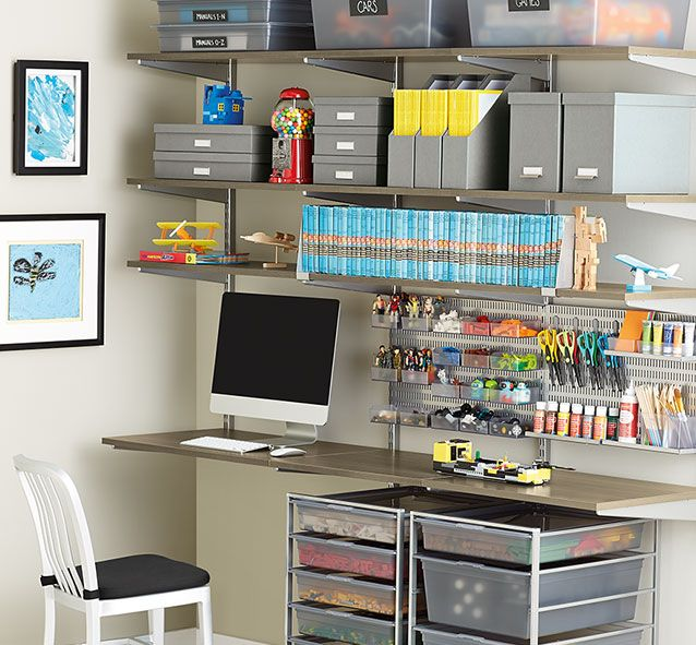 Elfa solutions this set up would look great in the for Elfa desk system