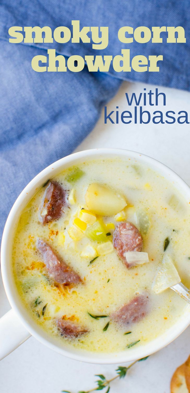 This easy homemade soup recipe is ready in under an hour! Smoky Corn Chowder is rich and meaty with chunks of sausage, potatoes and loads of fresh corn! #cornchowder, #soup #kielbasa #smokedsausage #sausage #potatoes #cream #cornonthecob #freshcorn #corn #thyme #homemadesoup #chowder #dinner #easydinner #feedsacrowd