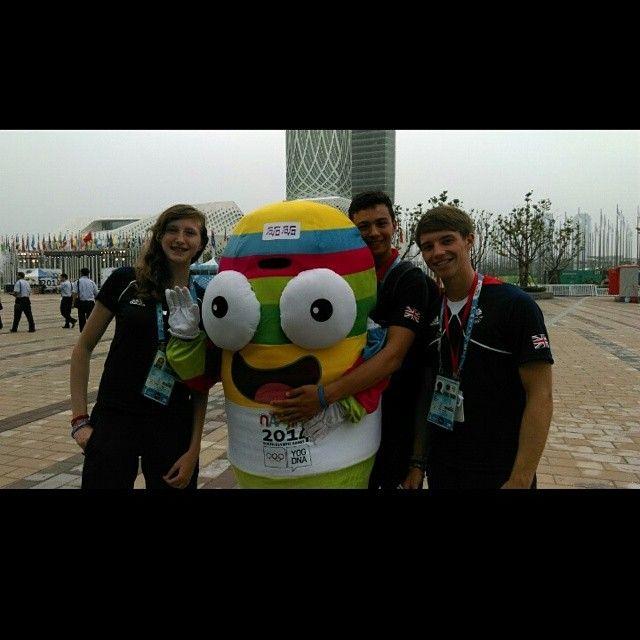 Team GB athletes giving the Nanjing 2014 mascot a hug!