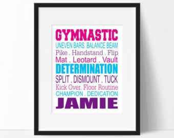 Gymnastiek slaapkamer Decor meisje sport door SimplyLoveCreations