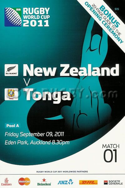 #rugbytoday 09/09 in 2011 : New Zealand 41-10 Tonga - All Blacks rugby RWC programme from the opening of the Rugby World Cup in 2011