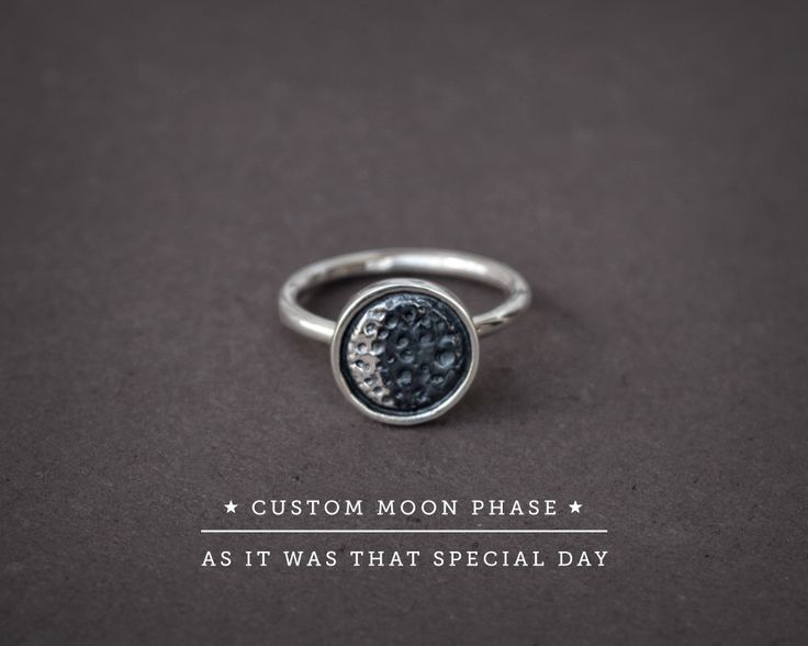 Silver Moon Ring,Moon Phase Ring,Moon Date Silver,Special Date Moon,Anniversary Gift,Custom Moon Date,Custom Moon Ring,Personalized Ring by AlejandraGiannoni on Etsy https://www.etsy.com/listing/233828770/silver-moon-ringmoon-phase-ringmoon-date