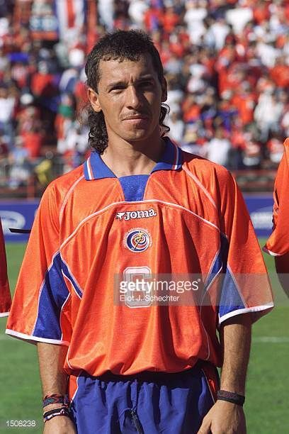 Wilmer Lopez of Costa Rica prepares for the during the 2002 Gold Cup match against Trinidad Tobago at the Orange Bowl in Miami FloridaThe game end a...