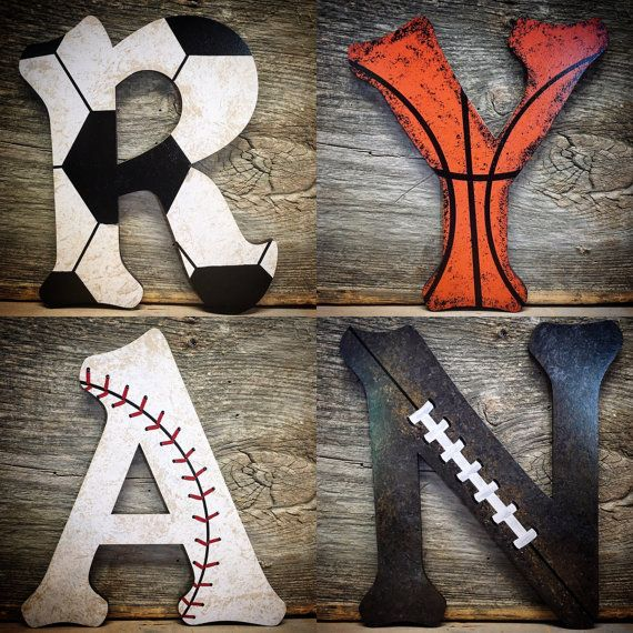 Nursery Decor- Sports Nursery Wood Wall Letters Decor-Baby Boy Nursery-Boys Room Decor-Sports Nursery Theme-Basketball-Football-Baseball FREE SHIPPING ON ALL ORDERS WITHIN THE UNITED STATES! Perfect for a sports nursery/room theme! All letters are custom made so no two letters will look the exact same. •available in 8,10,12 and 14 tall (to order a larger size please click this link https://www.etsy.com/listing/531071678/large-nursery-letters-sports-nursery?re...