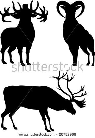 Deer Silhouettes  #deer #stag #silhouette #illustration