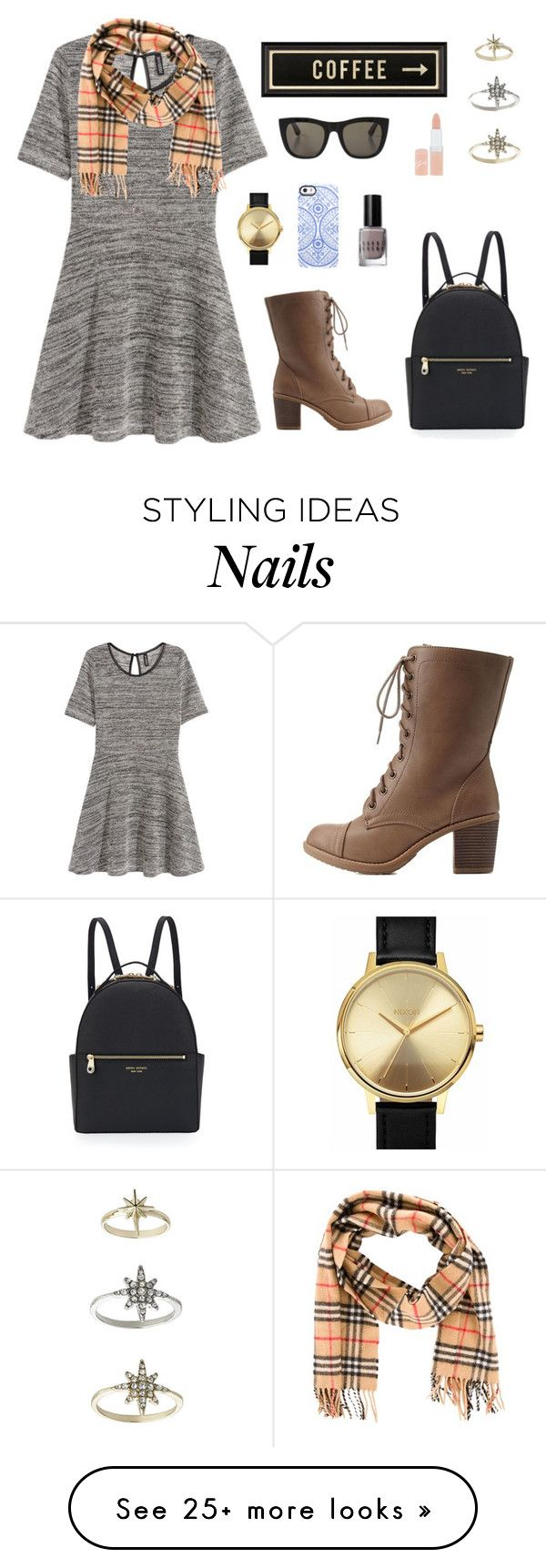 """Exploring the city"" by clothespose on Polyvore featuring H&M, Nixon, Rimmel, Burberry, RetroSuperFuture, Charlotte Russe, Topshop, Spicher and Company, Uncommon and Bobbi Brown Cosmetics"