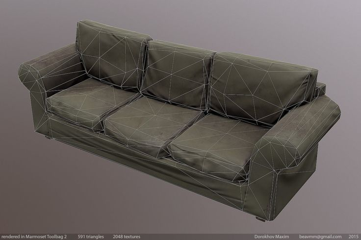 ArtStation - Low poly old sofa, Maxim Dorokhov