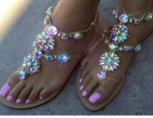 shoes sandals glitter bling summer pink strass girly