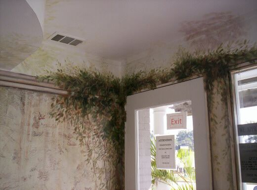 Area Above Front Door Painted With Ivy Vines Murals