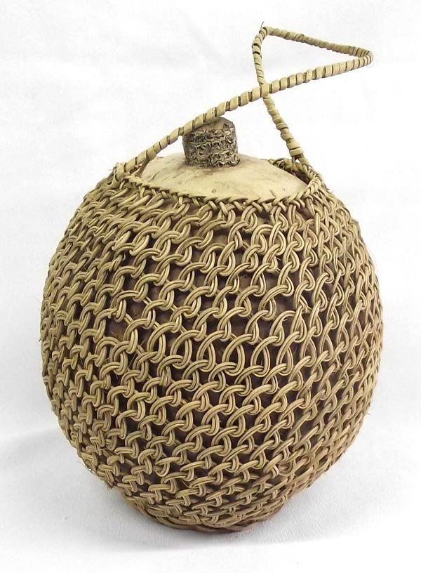 Pima Indian Gourd Basket Canteen