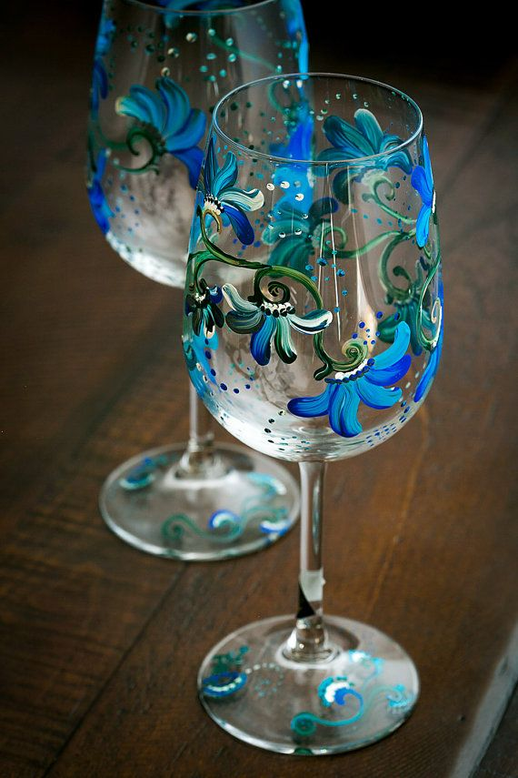 Floral Blue Hand Painted Wine Glasses Hostess Gift