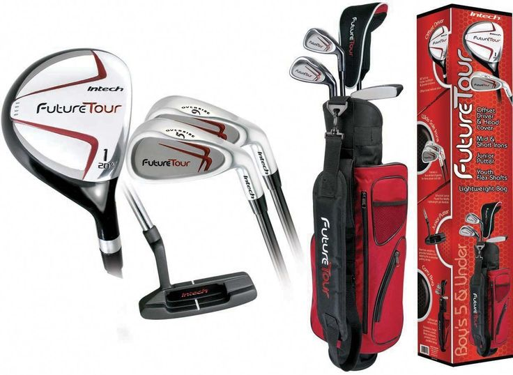 """Intech Future Tour Junior Golf Set (Right-Handed,Age 5 and Under). SET MAKEUP - 20-Degree Fairway Driver, Perimeter-weighted 5 and 9 Irons, Junior Putter and Headcover. LIGHTWEIGHT STAND BAG - Right-sized with a padded carry strap. LIGHT AND EASY TO SWING - Flexible composite shafts in all woods and irons. LENGTHS - Fairway Driver (32""""), 5 Iron (29""""), 9 Iron (27"""") and Putter (25.5"""")."""