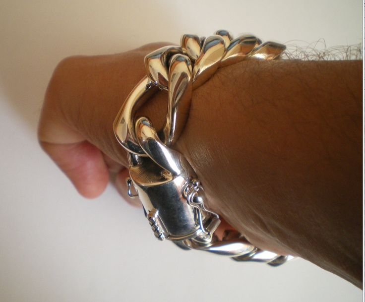 Silver Figaro Cuban Link Bracelet. The biggest 30mm version. Heavy enough ?