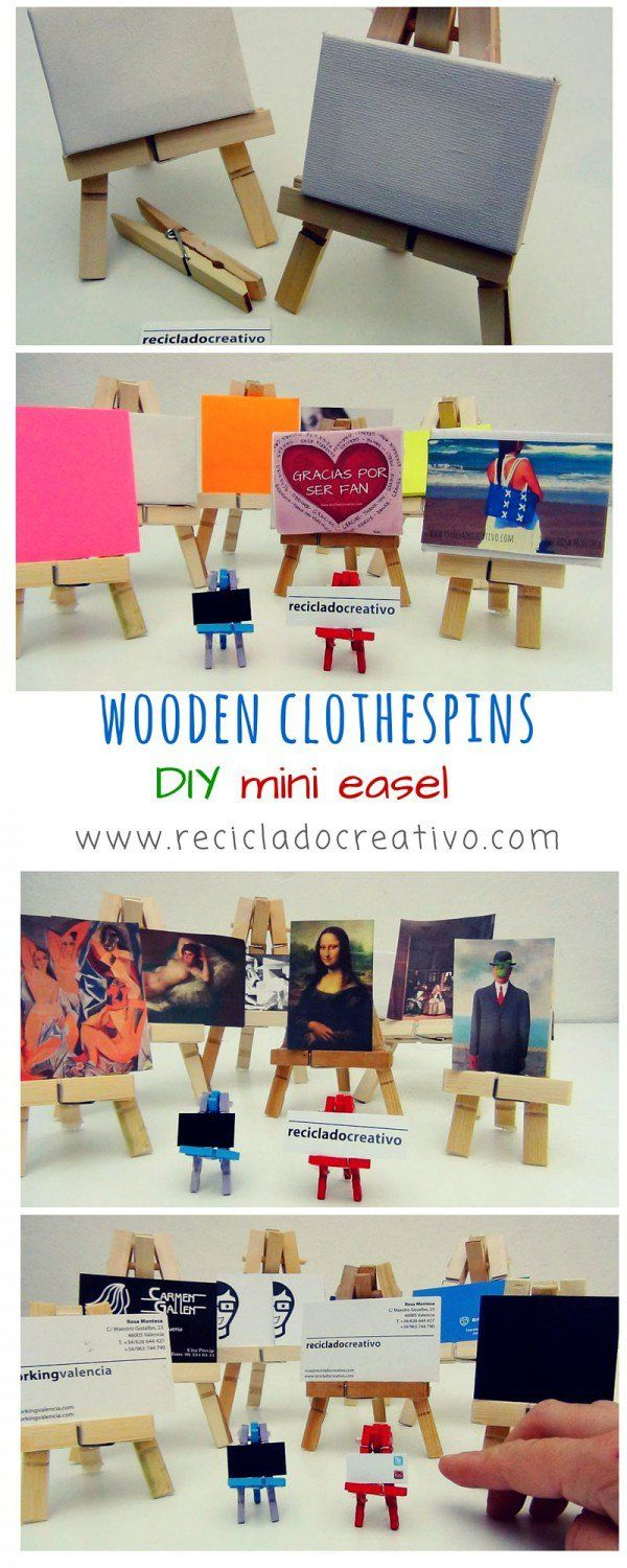 It's easy and very cheap to make a mini easel from clothespins. You just need 6 clothespins, 1 stick and wood glue. The small easel can be used to put the business cards or post-its, or for making small art…