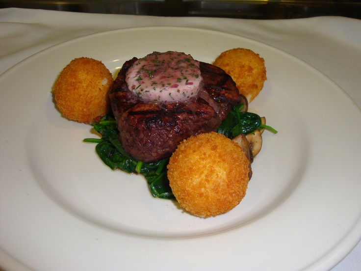 ... Potato Croquettes, Sauteed Garlic Spinach, and Red Wine-Shallot