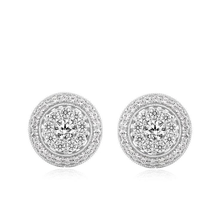 Ladies White 10K Gold Genuine Real Diamond Earrings Cluster Studs 2.00 Ct #CaratsForYou #Stud #EngagementWeddingAnniversaryPromiseValentine