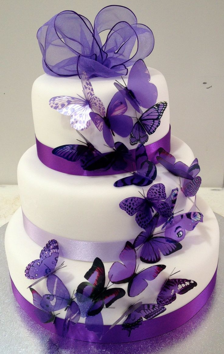 Purple+Wedding+Cakes | Purple Wedding Cakes with Butterflies Picture
