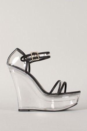 Shoe Republic Amador Leatherette Acrylic Platform Wedge