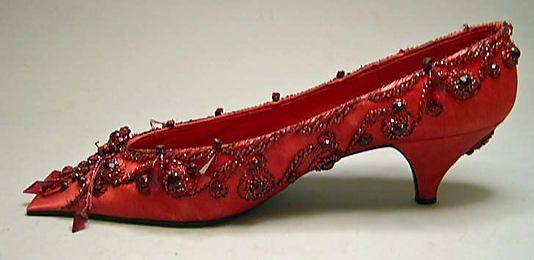 Evening shoes House of Dior (French, founded 1947) Designer: Roger Vivier (French, 1913–1998) Date: 1956 Culture: French Medium: silk, metal...