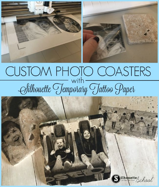 Make Photo Coasters with Silhouette Temporary Tattoo Paper | Silhouette School | Bloglovin'