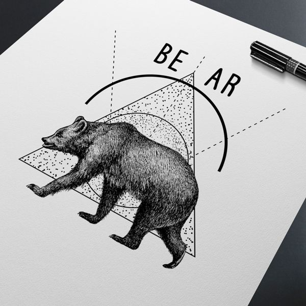 Bear Poster You can buy it - contact us! hogstudio.design@gmail.com  #bear #black #white #nature #geometric #animal #musthave #decor #home #idea #top #wildlife