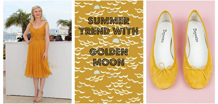 Atelier Brunette,Kirsten Dunst, Repetto,  jaune moutarde, yellow mustard, giallo senape, golden Fabric, tissu, tessuto on line http://supercut.it/
