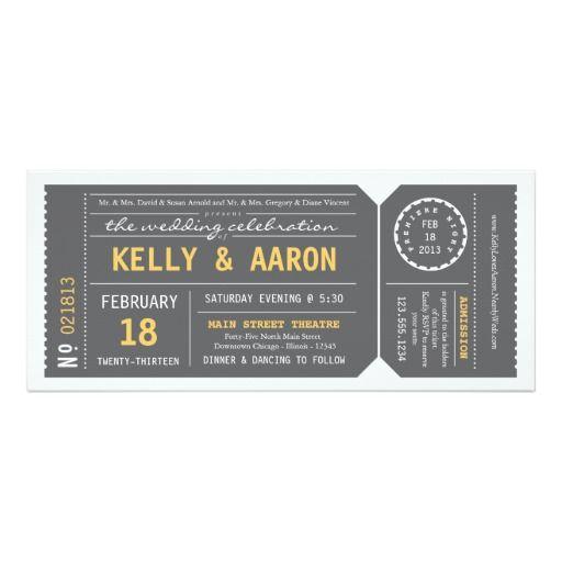 Playbillの劇場チケットの結婚式招待状-灰色 10.2 X 23.5 インビテーションカード