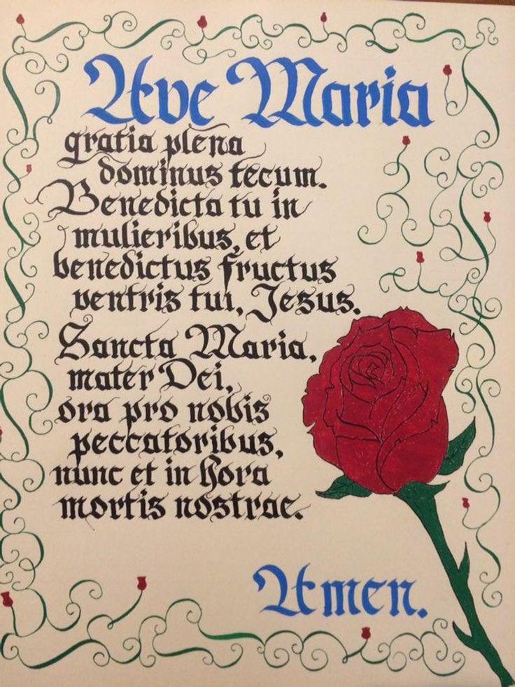 Ave María Latin Hail Mary Calligraphy Cartas al Señor