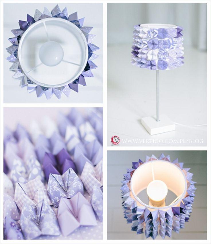 ECO LAMP, ECOLOGICAL LAMP, LAMP MADE OF PAPER DIY, PURPLE LAMP, Replace boring lamp in colorful detail! | Vertigo - Dekoracje i dodatki ślubne, source: http://www.vertigo.com.pl/replace-boring-lamp-in-colorful-detail/