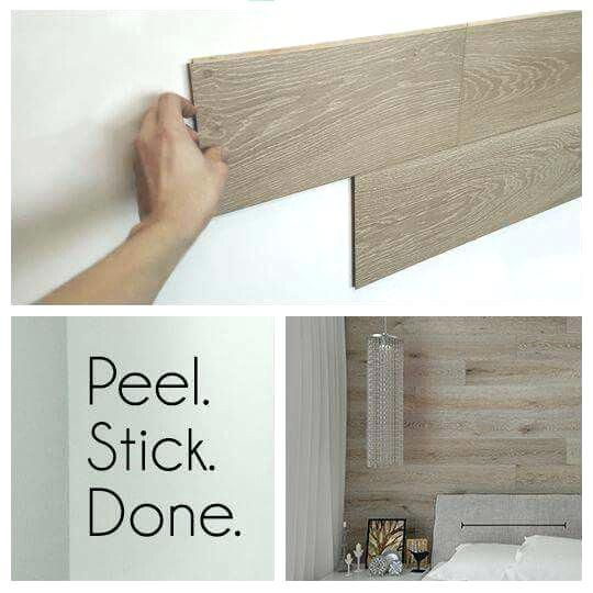 Peel Stick Wood Planks Using Vinyl Flooring On Walls Astonishing Peel And Stick Real Wood Paneling Wow Home Peel And S Easy Home Decor Home Remodeling Home Diy