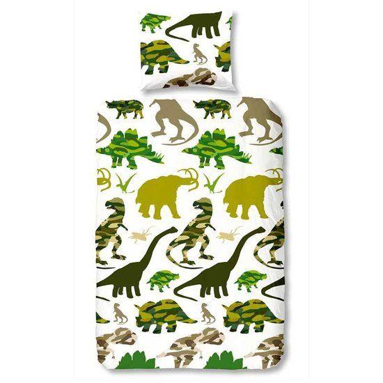 Dinosaurus dekbedovertrek - Groen - eenpersoons (140x200/220 cm + 1 sloop)
