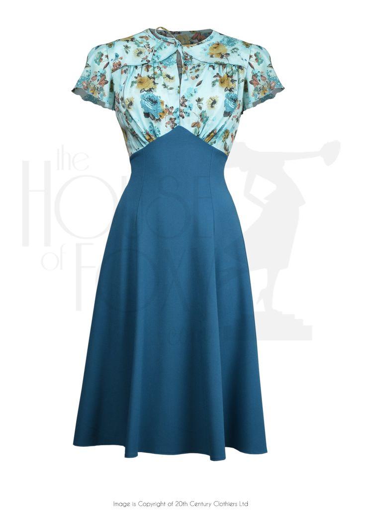40s Grable Tea Dress - Aqua Blossom £99.00 AT vintagedancer.com                                                                                                                                                     More