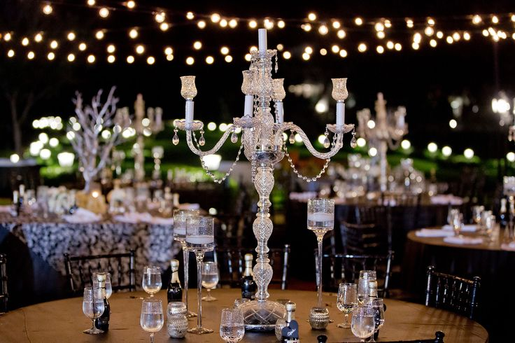 Your centerpieces don't need flowers to make a lasting impression! These crystal candelabras are so glamorous.