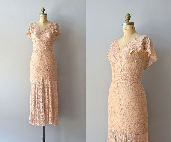 Tout Va Bien dress  vintage 1930s dress  lace 30s by DearGolden, $445.00
