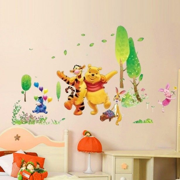 Baby Nursery, Child room decoration stickers winnie the pooh and friends wall decal decor stickers orange desk lamp ivory wooden laminate drawer dresser and nightstand pink white wooden stained bed frame cushions: Decorative Wall Stickers as Nursery Decorations