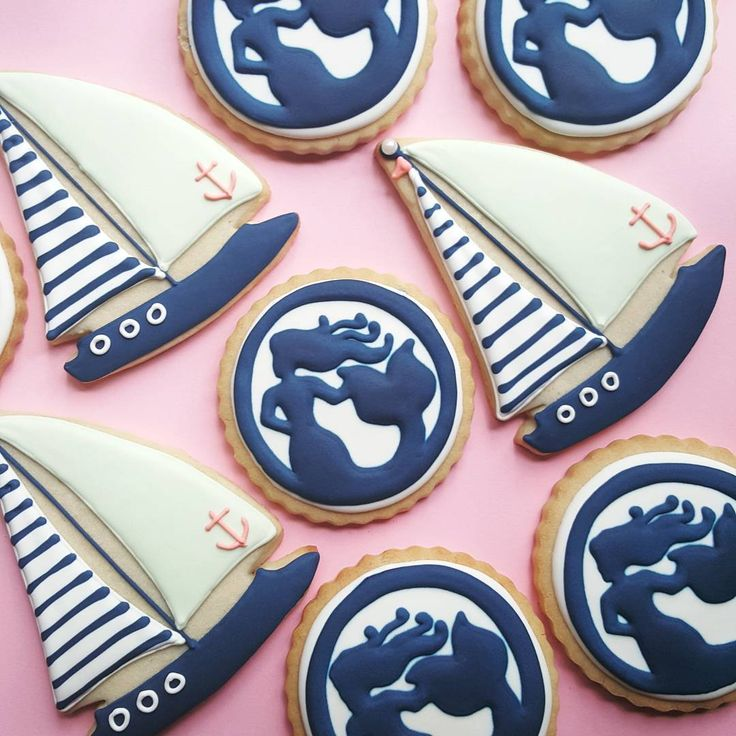 Mermaid and Sailboat sugar cookies - ajc patisserie