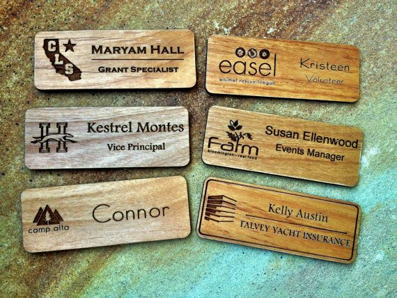 Custom Engraved Name Badges with Your Logo, Personalized Name Tags, Wood Name Tags