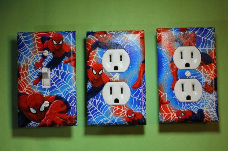 Spiderman 3 pc Set Light Switch Cover boys room home decor Spider-man Spidey