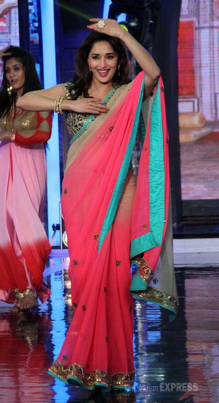 Madhuri Dixit was pretty in a pink sari with a 'gota