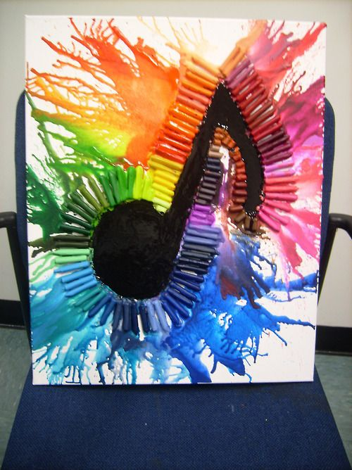 Music Note Melted Crayon Art