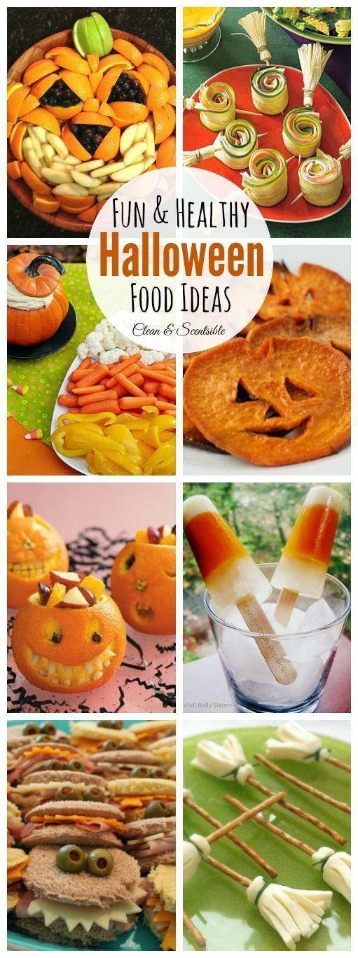 Lots of fun and healthy Halloween food ideas!  Perfect for Halloween parties or school treats! // http://cleanandscentsible.com