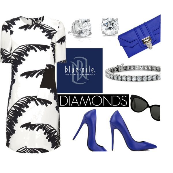 Diamonds Go With Everything by bluenile on Polyvore featuring Whistles, Akira Black Label, Philipp Plein, Blue Nile and Linda Farrow:
