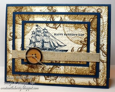 "Stamps:  The Open Sea and Teeny Tiny Wishes - Ink:  Midnight Muse, Soft Suede, and Baked Brown Sugar - Paper:  Midnight Muse and Very Vanilla card stock - Accessories:  Big Shot, Square Lattice embossing folder, Natural 7/16"" Trim, Naturals Designer Buttons, Linen Thread, Stampin' Dimensionals, and Glue Dots"