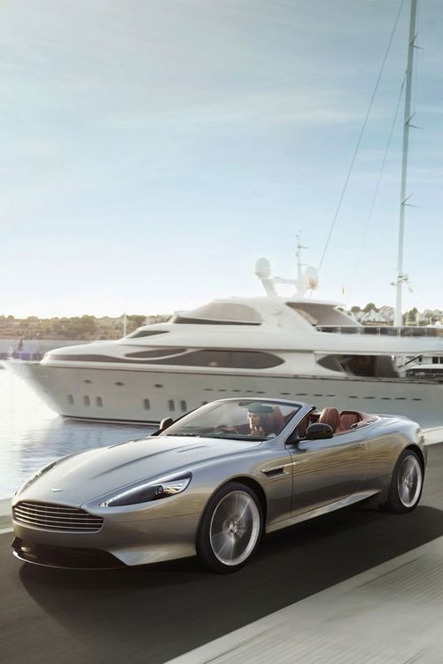 2013 Aston Martin DB9 Coupe  Volante...Silver car  @ the Yacht!