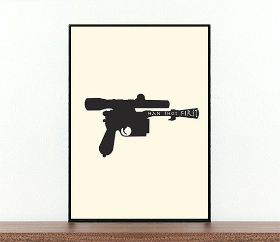 Hey, I found this really awesome Etsy listing at https://www.etsy.com/listing/187679181/star-wars-han-shot-first-movie-poster