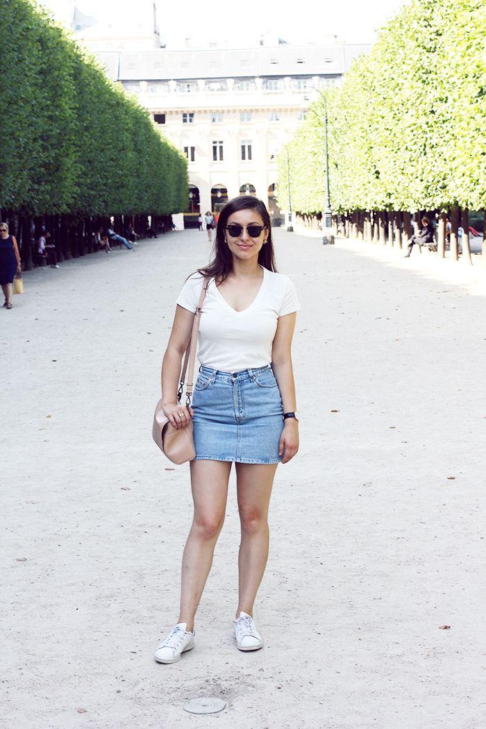 white t-shirt, denim skirt & stan smiths
