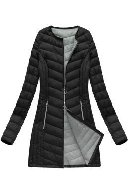 ca7a09e838367 Dlhá dámska prechodná bunda čierna 21814BIG   Veci na oblečenie ...