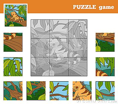 Jogo do enigma para crianças com animais (iguana)