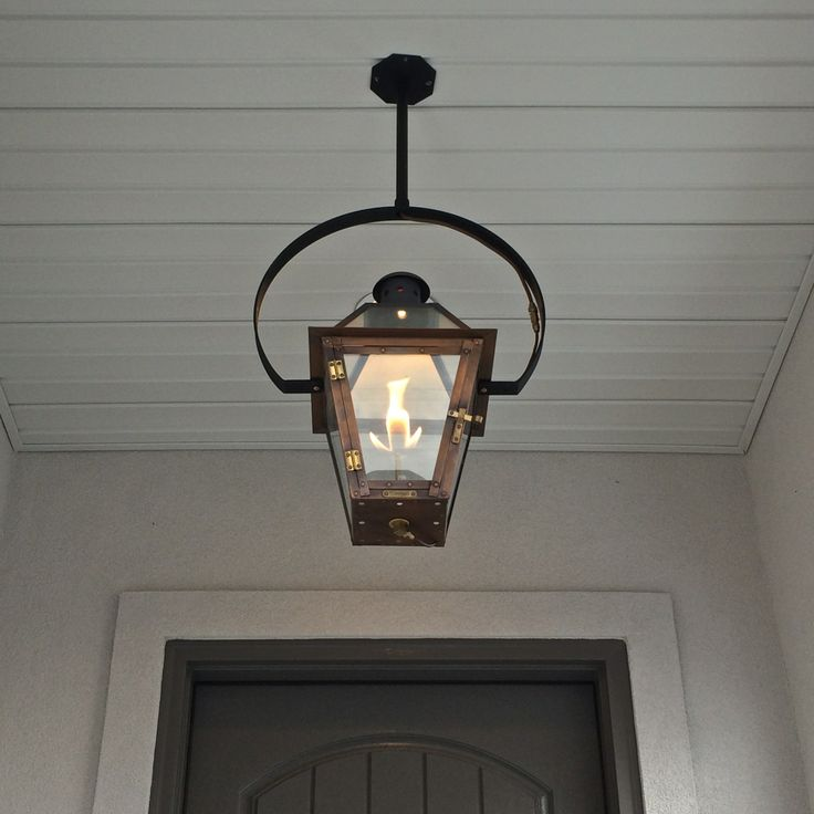Outdoor Entryway Lighting Ideas: Exterior Entryway Large Hanging Gas Lantern Estess