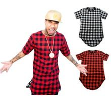Hip Hop T-shirt Casual Plaid shirts voor mannen High Quality Star Hiphop Tee Streetwear Swag Tops Tees Mannen shirt Tyga Summer Style XXXL (China (vasteland))
